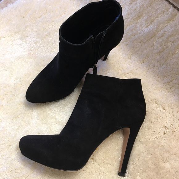 01e11fba Prada, suede ankle booties. Made in Italy.